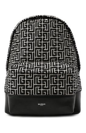 Женский рюкзак 1945 BALMAIN черно-белого цвета, арт. WM1GE150/TJMY   Фото 1 (Размер: large; Материал: Текстиль; Стили: Кэжуэл)