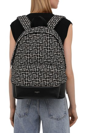 Женский рюкзак 1945 BALMAIN черно-белого цвета, арт. WM1GE150/TJMY   Фото 2 (Размер: large; Материал: Текстиль; Стили: Кэжуэл)