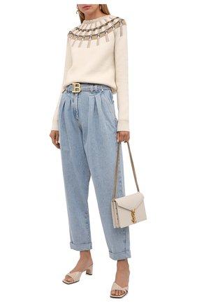 Женские джинсы BALMAIN голубого цвета, арт. WF1MH021/D138   Фото 2