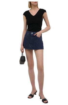 Женская юбка-шорты REDVALENTINO темно-синего цвета, арт. WR3DD04J/62N   Фото 2 (Материал внешний: Хлопок; Длина Ж (юбки, платья, шорты): Мини; Стили: Гламурный; Женское Кросс-КТ: Юбка-одежда)