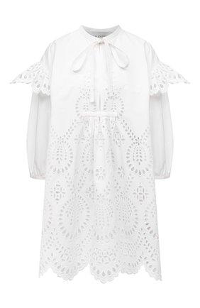 Женское хлопковое платье VALENTINO белого цвета, арт. WB3VAWE06H5   Фото 1