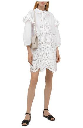 Женское хлопковое платье VALENTINO белого цвета, арт. WB3VAWE06H5   Фото 2