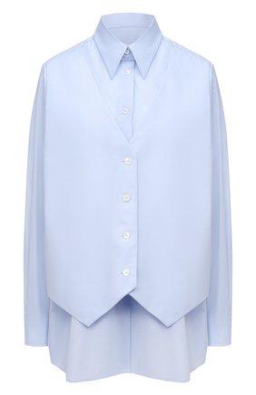 Женская хлопковая рубашка MM6 голубого цвета, арт. S52DL0151/S47294   Фото 1
