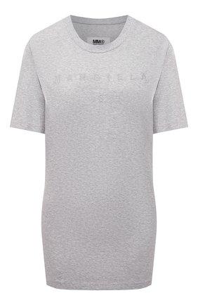 Женская хлопковая футболка MM6 серого цвета, арт. S52GC0212/S23588   Фото 1