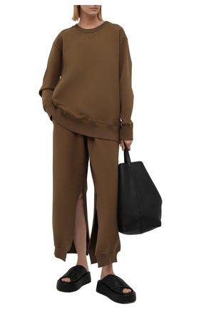 Женские хлопковые брюки MM6 хаки цвета, арт. S52KA0315/S25337   Фото 2