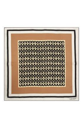 Женский шелковый платок VALENTINO бежевого цвета, арт. WW2EI114/UKA | Фото 2 (Материал: Текстиль, Шелк)