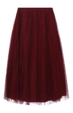 Женская юбка REDVALENTINO бордового цвета, арт. WR3RAC20/428 | Фото 1 (Длина Ж (юбки, платья, шорты): Миди; Материал внешний: Синтетический материал; Материал подклада: Синтетический материал; Стили: Романтичный; Женское Кросс-КТ: Юбка-одежда)
