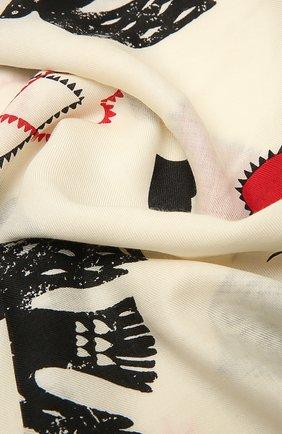 Женский шаль из шерсти и шелка ALEXANDER MCQUEEN кремвого цвета, арт. 665285/3631Q | Фото 2