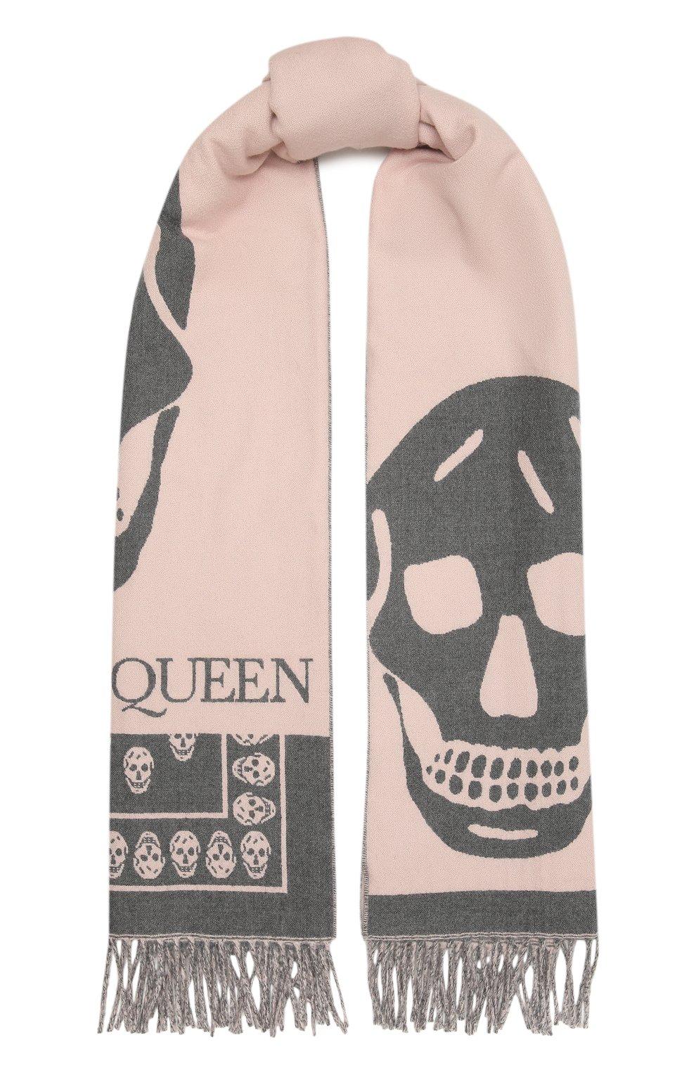 Женский шерстяной шарф ALEXANDER MCQUEEN розового цвета, арт. 662456/3200Q | Фото 1 (Материал: Шерсть)