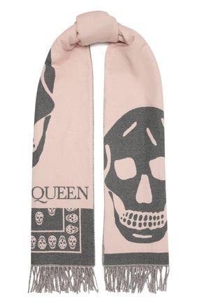 Женский шерстяной шарф ALEXANDER MCQUEEN розового цвета, арт. 662456/3200Q | Фото 1