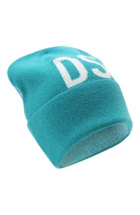 Женская шерстяная шапка DSQUARED2 бирюзового цвета, арт. KNW0001 01W04328   Фото 1 (Материал: Шерсть)