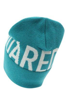 Женская шерстяная шапка DSQUARED2 бирюзового цвета, арт. KNW0001 01W04328   Фото 2 (Материал: Шерсть)