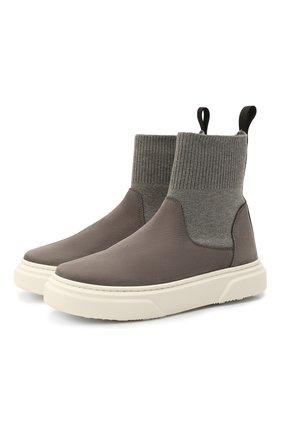 Детские кожаные ботинки MONTELPARE TRADITION серого цвета, арт. MT18301/M0RBID0NE/T0MAIA/36-41 | Фото 1