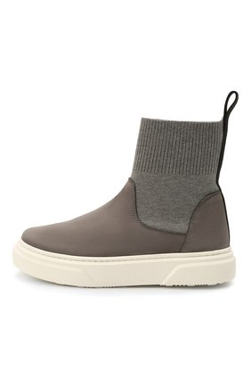 Детские кожаные ботинки MONTELPARE TRADITION серого цвета, арт. MT18301/M0RBID0NE/T0MAIA/36-41 | Фото 2