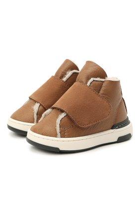 Детские кожаные кеды MONTELPARE TRADITION коричневого цвета, арт. MT7557/M0NT0NE/M0RBID0NE/18-26 | Фото 1