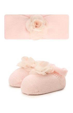 Детские комплект из пинеток и повязки LA PERLA розового цвета, арт. 48597 | Фото 1