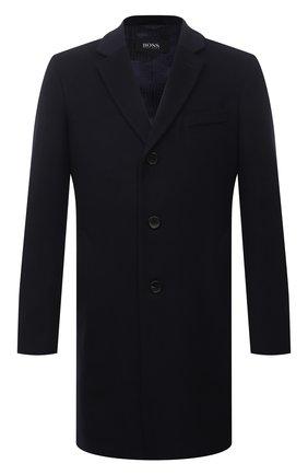 Мужской пальто из шерсти и кашемира BOSS темно-синего цвета, арт. 50459022 | Фото 1