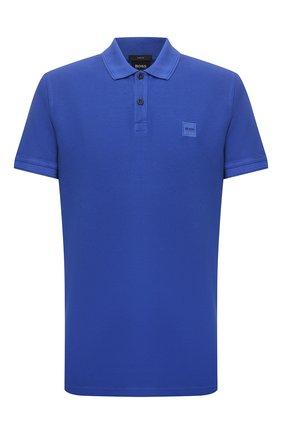 Мужское хлопковое поло BOSS синего цвета, арт. 50378365 | Фото 1