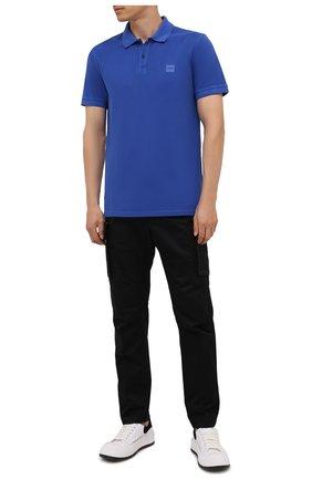 Мужское хлопковое поло BOSS синего цвета, арт. 50378365 | Фото 2