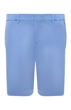Мужские хлопковые шорты BOSS голубого цвета, арт. 50423114 | Фото 1 (Длина Шорты М: До колена; Материал внешний: Хлопок; Мужское Кросс-КТ: Шорты-одежда; Принт: Без принта; Стили: Кэжуэл)