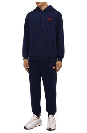 Мужские хлопковые джоггеры HUGO темно-синего цвета, арт. 50448389 | Фото 2
