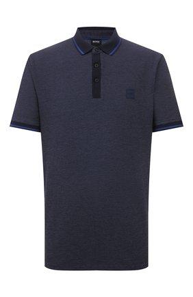 Мужское хлопковое поло BOSS темно-синего цвета, арт. 50430471 | Фото 1