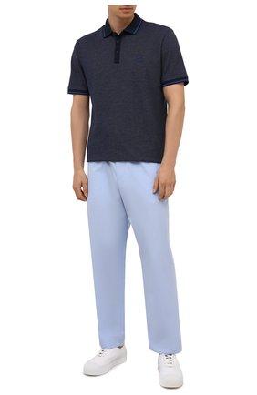 Мужское хлопковое поло BOSS темно-синего цвета, арт. 50430471 | Фото 2