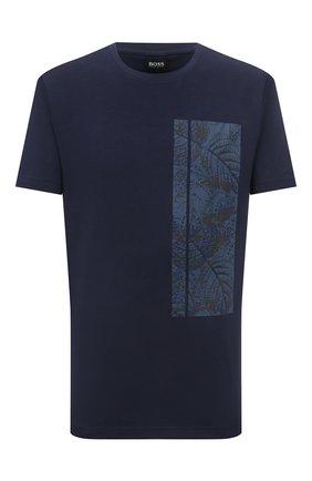 Мужская хлопковая футболка BOSS темно-синего цвета, арт. 50448680 | Фото 1