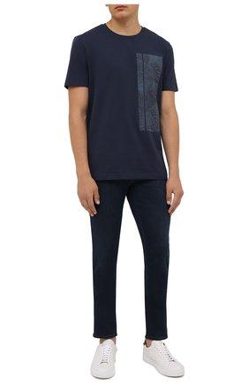 Мужская хлопковая футболка BOSS темно-синего цвета, арт. 50448680 | Фото 2