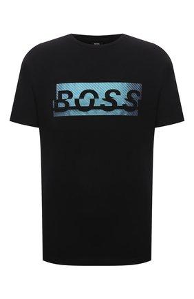 Мужская хлопковая футболка BOSS черного цвета, арт. 50452864 | Фото 1 (Рукава: Короткие; Материал внешний: Хлопок; Длина (для топов): Стандартные; Принт: С принтом; Стили: Кэжуэл)