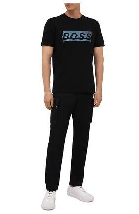Мужская хлопковая футболка BOSS черного цвета, арт. 50452864 | Фото 2 (Рукава: Короткие; Материал внешний: Хлопок; Длина (для топов): Стандартные; Принт: С принтом; Стили: Кэжуэл)