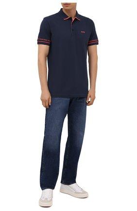 Мужское хлопковое поло BOSS темно-синего цвета, арт. 50452888 | Фото 2