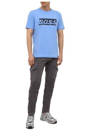 Мужская хлопковая футболка BOSS голубого цвета, арт. 50452864 | Фото 2 (Длина (для топов): Стандартные; Материал внешний: Хлопок; Рукава: Короткие; Принт: С принтом; Стили: Кэжуэл)