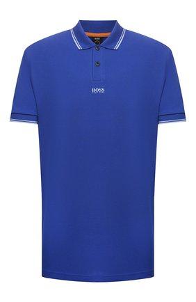 Мужское хлопковое поло BOSS синего цвета, арт. 50449367 | Фото 1