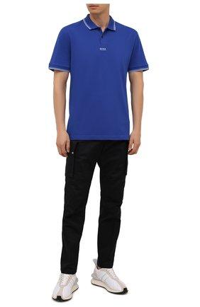 Мужское хлопковое поло BOSS синего цвета, арт. 50449367 | Фото 2