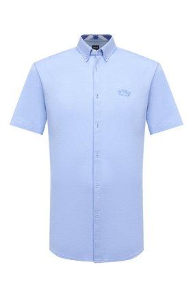 Мужская хлопковая рубашка BOSS голубого цвета, арт. 50452428 | Фото 1 (Материал внешний: Хлопок; Длина (для топов): Стандартные; Рукава: Короткие; Случай: Повседневный; Принт: Однотонные; Стили: Кэжуэл; Воротник: Button down)