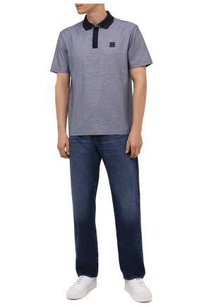 Мужское хлопковое поло BOSS синего цвета, арт. 50452915 | Фото 2