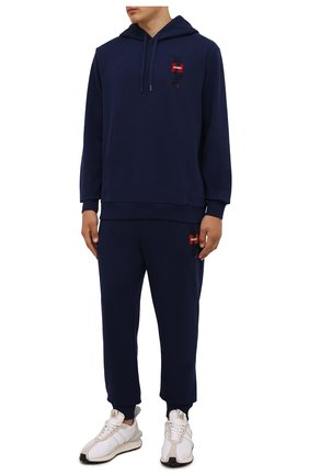 Мужской хлопковое худи HUGO темно-синего цвета, арт. 50454361 | Фото 2