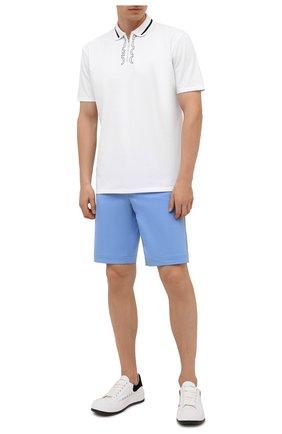 Мужское хлопковое поло HUGO белого цвета, арт. 50456803 | Фото 2 (Рукава: Короткие; Материал внешний: Хлопок; Длина (для топов): Стандартные; Застежка: Молния; Стили: Кэжуэл)