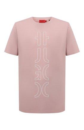Мужская хлопковая футболка HUGO розового цвета, арт. 50458197 | Фото 1