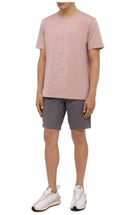 Мужская хлопковая футболка HUGO розового цвета, арт. 50458197 | Фото 2