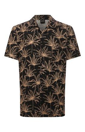 Мужская рубашка BOSS черного цвета, арт. 50460360 | Фото 1 (Рукава: Короткие; Материал внешний: Лен, Синтетический материал; Длина (для топов): Стандартные; Случай: Повседневный; Принт: С принтом; Стили: Кэжуэл; Воротник: Отложной)