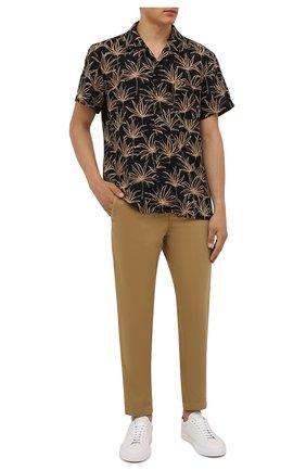 Мужская рубашка BOSS черного цвета, арт. 50460360 | Фото 2 (Рукава: Короткие; Материал внешний: Лен, Синтетический материал; Длина (для топов): Стандартные; Случай: Повседневный; Принт: С принтом; Стили: Кэжуэл; Воротник: Отложной)