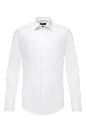 Мужская хлопковая сорочка BOSS белого цвета, арт. 50460020 | Фото 1 (Материал внешний: Хлопок; Случай: Формальный; Принт: Однотонные; Рукава: Длинные; Стили: Классический; Рубашки М: Regular Fit; Воротник: Кент; Манжеты: На пуговицах; Длина (для топов): Стандартные)
