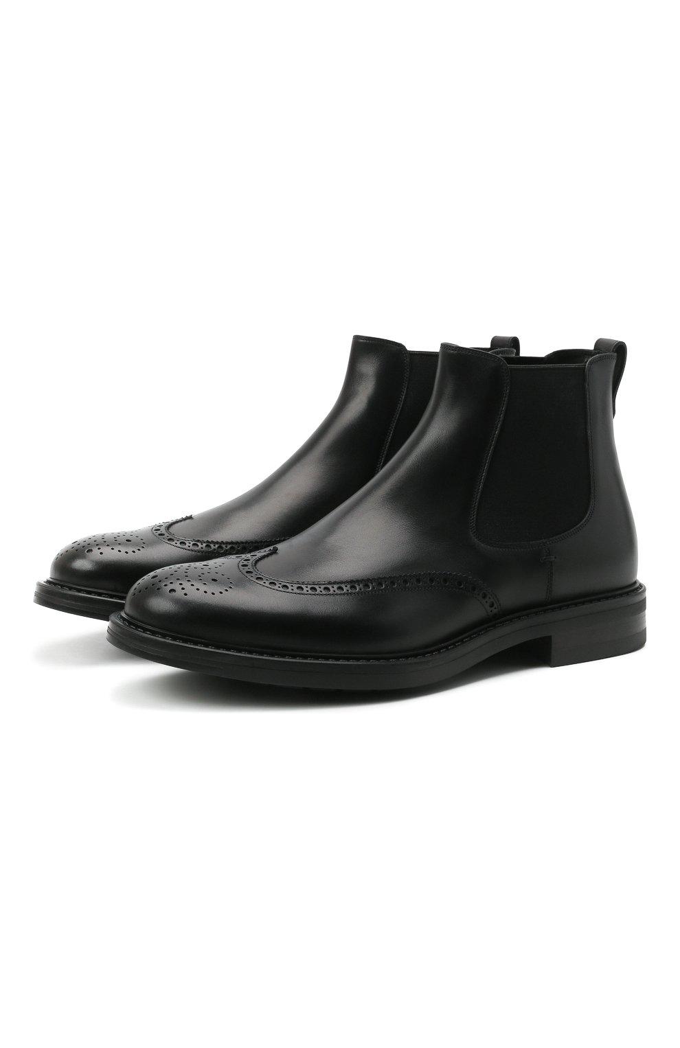 Мужские кожаные челси W.GIBBS черного цвета, арт. 3169004/0214 | Фото 1 (Материал внутренний: Натуральная кожа; Подошва: Плоская; Мужское Кросс-КТ: Сапоги-обувь, Челси-обувь)
