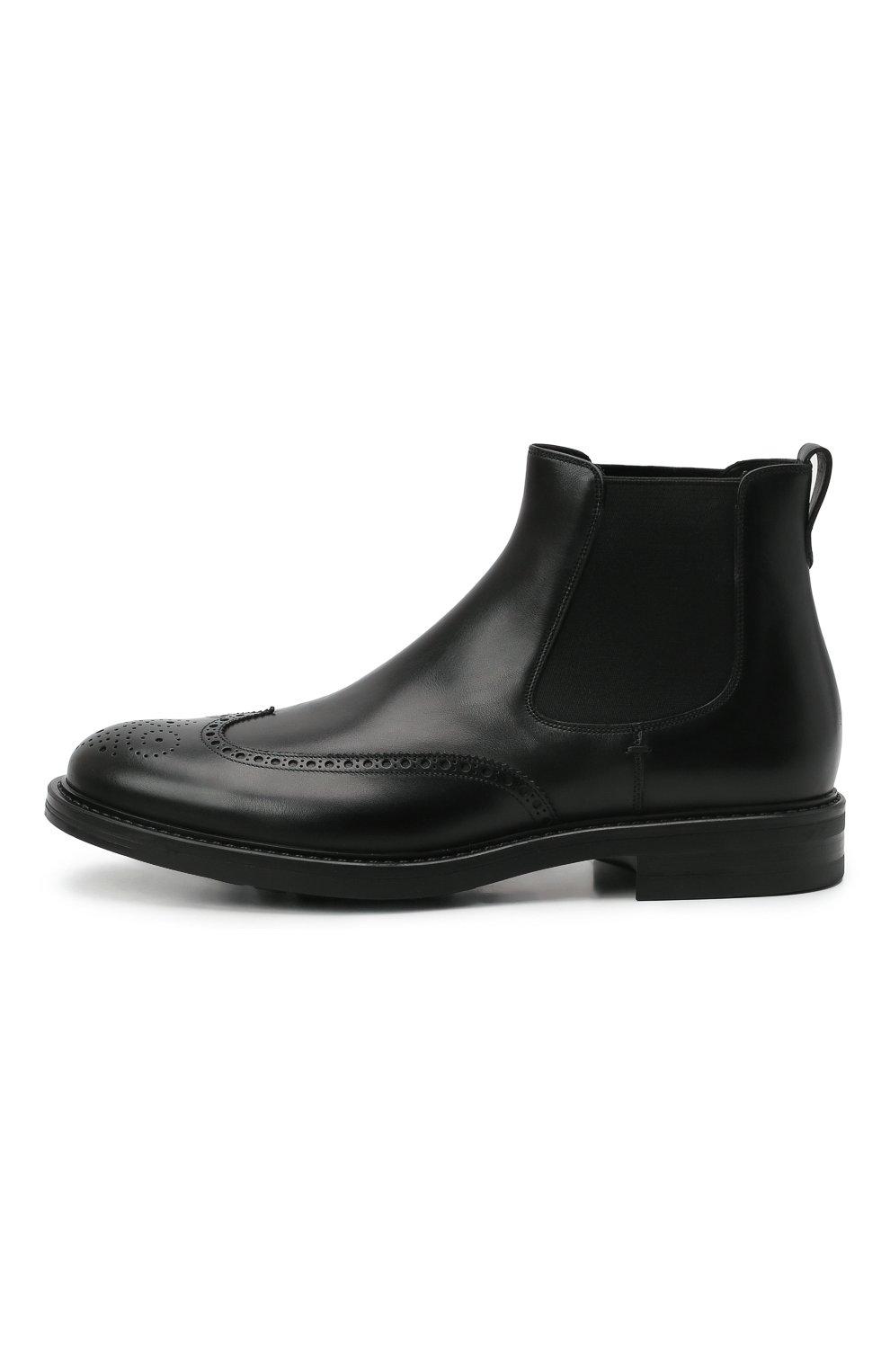 Мужские кожаные челси W.GIBBS черного цвета, арт. 3169004/0214 | Фото 3 (Материал внутренний: Натуральная кожа; Подошва: Плоская; Мужское Кросс-КТ: Сапоги-обувь, Челси-обувь)
