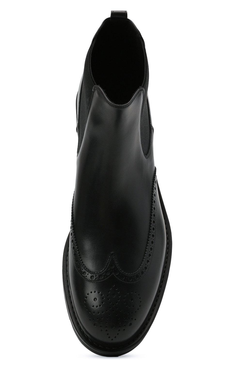 Мужские кожаные челси W.GIBBS черного цвета, арт. 3169004/0214 | Фото 5 (Материал внутренний: Натуральная кожа; Подошва: Плоская; Мужское Кросс-КТ: Сапоги-обувь, Челси-обувь)