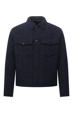 Мужская шерстяная куртка GIORGIO ARMANI темно-синего цвета, арт. 1WG0B065/T02S1 | Фото 1 (Длина (верхняя одежда): Короткие; Материал внешний: Шерсть; Материал подклада: Синтетический материал; Рукава: Длинные; Кросс-КТ: Куртка; Мужское Кросс-КТ: шерсть и кашемир; Стили: Кэжуэл)