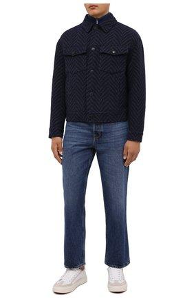 Мужская шерстяная куртка GIORGIO ARMANI темно-синего цвета, арт. 1WG0B065/T02S1 | Фото 2 (Длина (верхняя одежда): Короткие; Материал внешний: Шерсть; Материал подклада: Синтетический материал; Рукава: Длинные; Кросс-КТ: Куртка; Мужское Кросс-КТ: шерсть и кашемир; Стили: Кэжуэл)