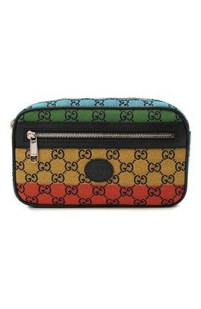 Мужская текстильная поясная сумка gg multicolor GUCCI синего цвета, арт. 658657/2U1BN | Фото 1